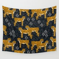 cheetah Wall Tapestries featuring Safari Cheetah by Andrea Lauren Design
