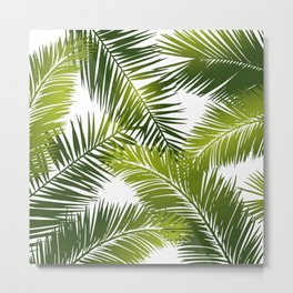 Palm Leaves Tropical Green and White Metal Print
