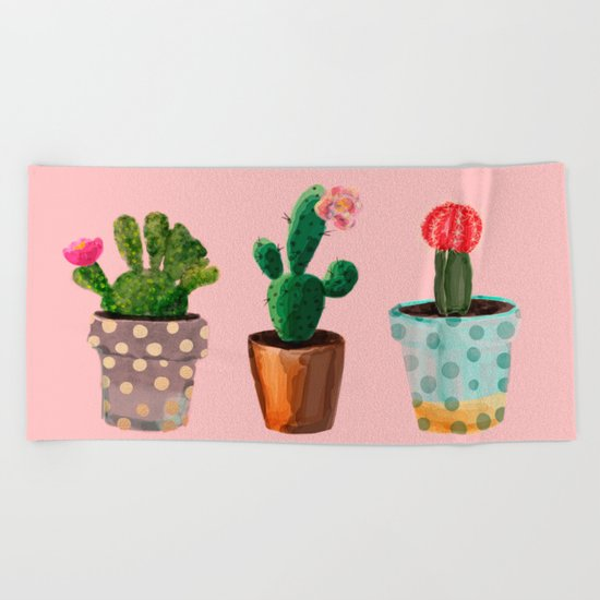 Three Cacti With Flowers On Pink Background Beach Towel