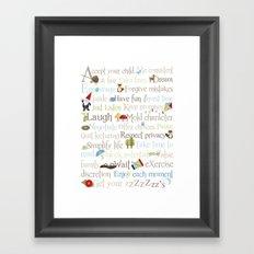 ABCs of Parenting - Woodland Framed Art Print