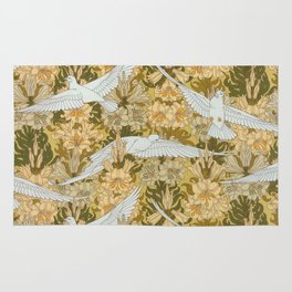 Vintage Art Deco Doves and Flowers Rug