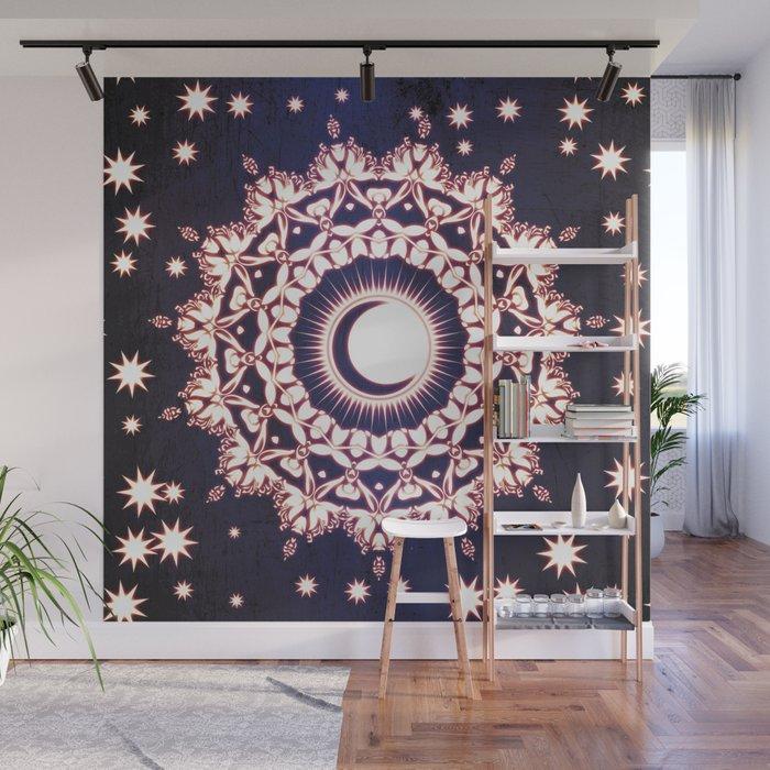 SUN MOON STARS GLOWING MANDALA Wall Mural