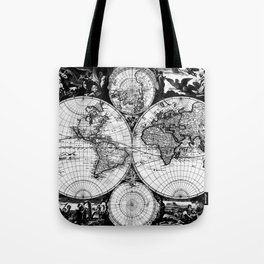 Vintage Map of The World (1685) Black & White Tote Bag