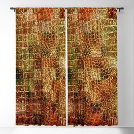 Faux Alligator Animal Skin Leather Red Brown Blackout Curtain