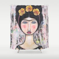 tina crespo Shower Curtains featuring La-Tina by Natalie Briney