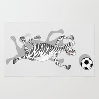 football Area & Throw Rugs featuring Zebra Football by mailboxdisco