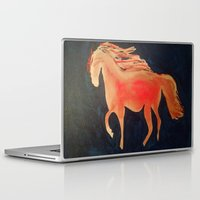 patriots Laptop & iPad Skins featuring Red Navy Blue and Silver Acrylic Horse Painting by Melissa's Art