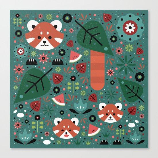 Red Panda & Cubs Canvas Print
