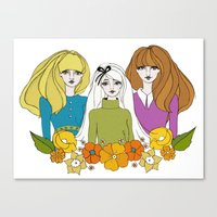 60s Canvas Prints featuring 60s girls by Bunny Miele