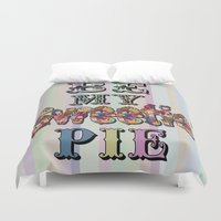 pie Duvet Covers featuring Sweetie Pie by Bexie Doodles