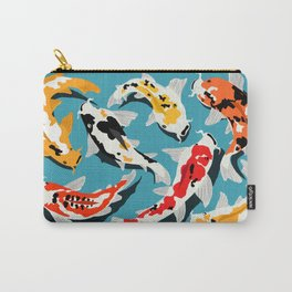 Colorful Koi Carps Swimming Around Carry-All Pouch