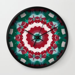 Holiday Red and Green Simple Flower Mandala Wall Clock