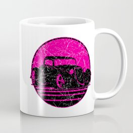 Retro Hot Pink Hot Rod Grungy Sunset Illustration Coffee Mug