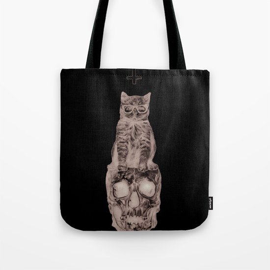The Cat, The Skull, The Cross Tote Bag