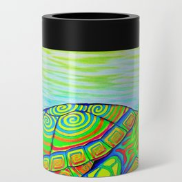 Colorful Psychedelic Neon Painted Turtle Rainbow Turtle Can Cooler