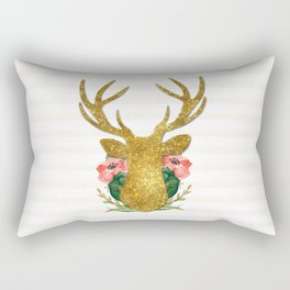 Floral Gold Deer Rectangular Pillow