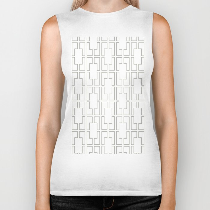 Simply Mid-Century Retro Gray on White Biker Tank