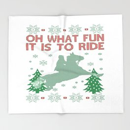 Riding Horse Christmas Throw Blanket