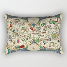 De Wit's Celestial Hemispheres, North and South, 1670 Rectangular Pillow