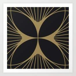 Diamond Series Floral Cross Gold on Charcoal Art Print