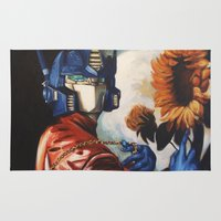 optimus prime Area & Throw Rugs featuring Optimus Prime With Sunflower by Hillary White