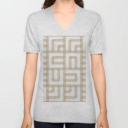 Golden Deco Lines Pattern Unisex V-Neck