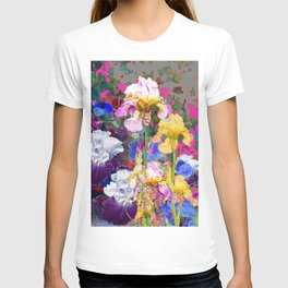 PINK-YELLOW PURPLE IRIS GARDEN GREY ART T-shirt