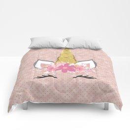 Blush Pink and Faux Gold Unicorn Glitter Comforters