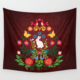 Bunny Of The Flowers Wall Tapestry