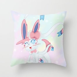 Sylveon in Pastel Space Throw Pillow