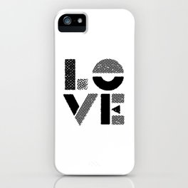 LOVE black-white contemporary minimalist vintage typography poster design home wall decor bedroom iPhone Case