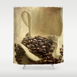 Coffee break in the morning time  Shower Curtain