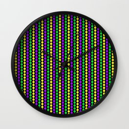 Mardi Gras Beads on Black Wall Clock