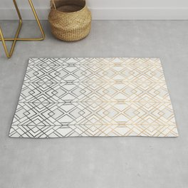 Gold And Grey Geo Rug