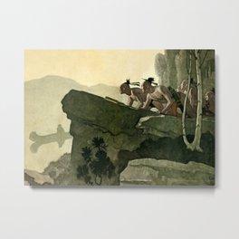 """""""First Warpath"""" Western Art by NC Wyeth Metal Print"""