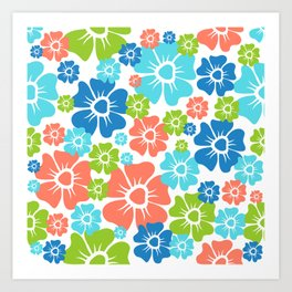 Flowers Spring Orange Blue Green Print Art Print