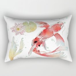 "Watercolor Painting of Picture ""Koi Pond"" Rectangular Pillow"