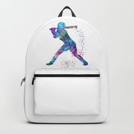 Girl Baseball Player Softball Batter Colorful Watercolor Blue Art Backpack