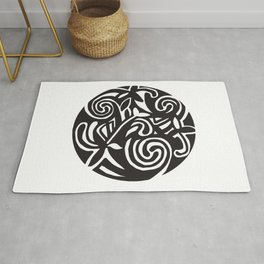 Inspired by a design in the Book of Kells Black and White Rug