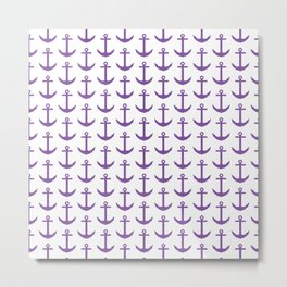 Cute Nautical Pattern - Purple and White Anchor Metal Print