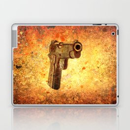 M1911 Muzzle On Rusted Background 3/4 View Laptop & iPad Skin
