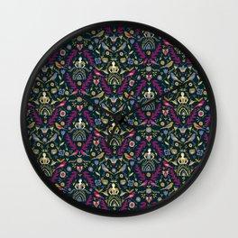 Purple and Gold Folk Milk Maid Pattern Wall Clock