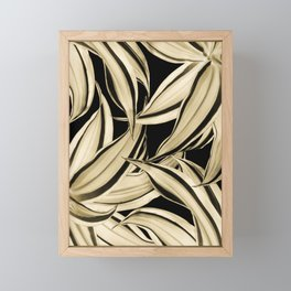 Dracaena Tropical Leaves Pattern Gold Black #2 #tropical #decor #art #society6 Framed Mini Art Print