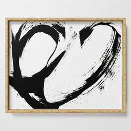 Brushstroke 6: a minimal, abstract, black and white piece Serving Tray