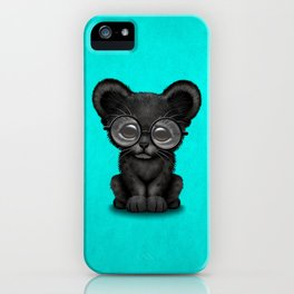 Cute Baby Black Panther Cub Wearing Glasses on Blue iPhone Case