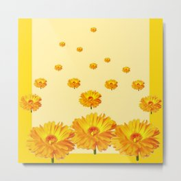 FLOATING GOLDEN FLOWERS YELLOW COLLAGE Metal Print