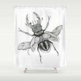 Dotwork Flying Beetle Illustration Shower Curtain