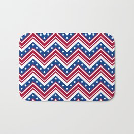 Red White and Blue Zigzag Stripes Bath Mat