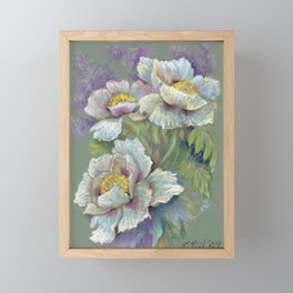 White Poppy Flowers bouquet Floral pastel drawing on green background Floral decor Framed Mini Art Print