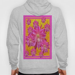 Exotic Pink Gold Tropical Fuchsia Flowers Art Hoody